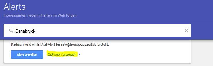google alerts optionen anzeigen