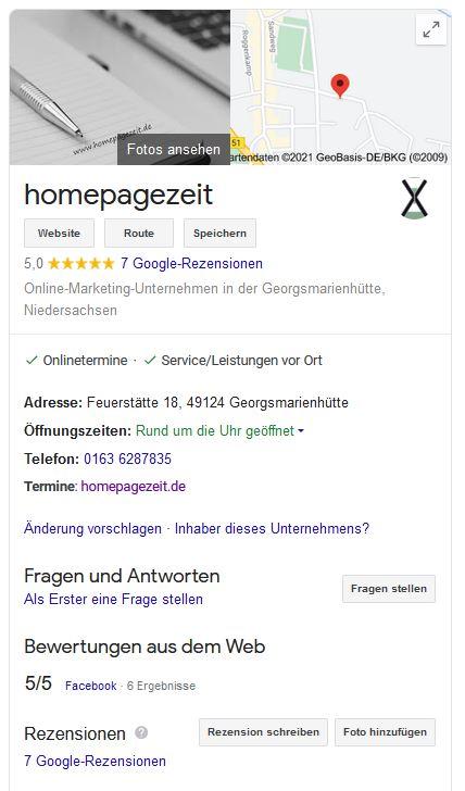 Google My Business homepagezeit